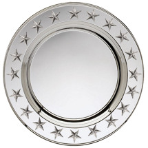 "9 1/2-12"" Silver Presentation Tray with Stars"