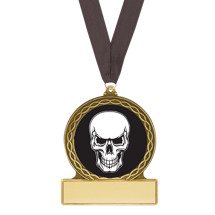 Halloween Medal - Skull Medal with Free Black Neck Ribbon