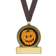 Halloween Medal - Pumpkin Halloween Medal with Free Neck Ribbon
