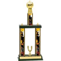 Halloween Trophy - Pumpkin Trophy with Haunted House Columns
