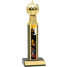 Halloween Trophy - Round Column Haunted House Pumpkin Trophy