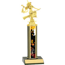 Halloween Trophy - Round Haunted House Column Witch Trophy