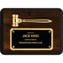 Gavel Plaque with Black Brass Shield Plate
