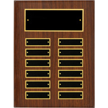 "9 x 12"" Walnut High Gloss Perpetual Plaque - 12 Nameplates"