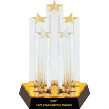 Five Star Lucite Award on a Mirrored Black Acrylic Base