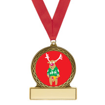 "2 3/4"" Reindeer Medal with Red Ribbon"