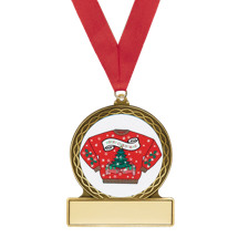 Ugly Christmas Sweater Medal with Red Ribbon