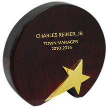 "4 3/4 x 5"" - 7 x 6 3/4"" Rosewood Star Award"