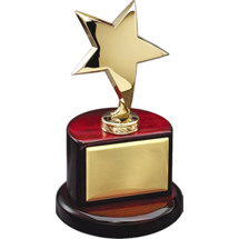 "4 1/2 x 8"" Gold Star Rosewood Trophy"