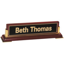 Rosewood Name Plate Placard with Black Brass Plate