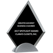 Glass Triangle Stand-Up Award - 7 1/8 x 8 1/4""