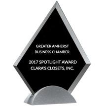 "Glass Triangle Stand-Up Award - 7 1/8 x 8 1/4"""