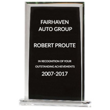 """Glass Plaque-Style Stand-Up Award - 5 1/2 x 9 1/4"""""""