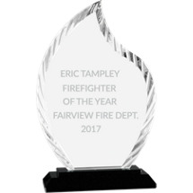 "8"" Flame Clear Glass Award with Black Acrylic Base"