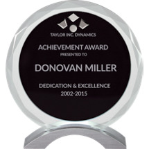"7"" Round Clear and Black Glass Award"