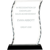 "8 1/4"" Wave-Shaped Clear Glass Award with Black Acrylic Base"