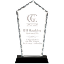 "9"" Modern Arch Clear Glass Award with Black Acrylic Base"
