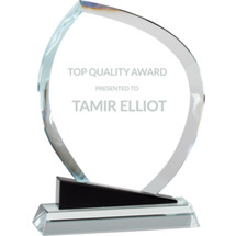 "5 3/4 x 7 3/4"" Modern Clear Glass Award with Black Acrylic Base"
