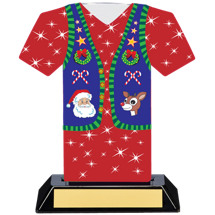Christmas Sweater Trophy - Ugly Red  Christmas Sweater Award