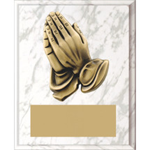 "Small 5 x 7"" White Marble-tone Plaque with Praying Hands"