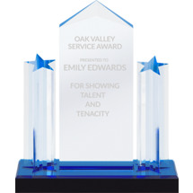 Blue Reflection Lucite Star Presentation Award on a Black Acrylic Base