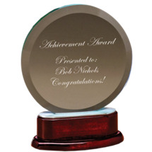 "6 1/4 x 7 3/4"" Round Glass Award with Rosewood Finish Base"