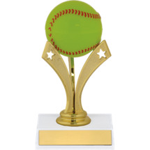 "Softball Trophy - 6"" Softball Trophy with a Star Riser"