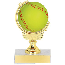 "Softball Trophy - 5 1/2"" Squeezable Spinning Softball Trophy"