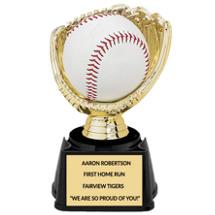Softball Holder Trophy - Open Gold Softball Glove Display Trophy
