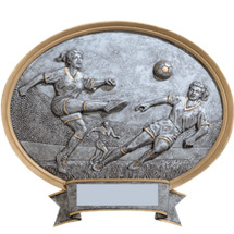 Soccer Pewter-tone Oval Resin Plaque - Female