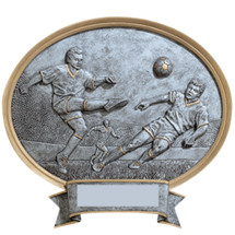 Soccer Pewter-tone Oval Resin Plaque - Male