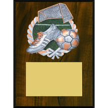 Soccer Plaque - Color Brushed Pewter-Tone Resin Cast Soccer