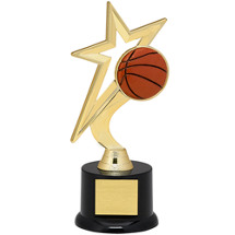"Basketball Trophy - 9"" Gold Star with Black Acrylic Base"