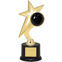 "Bowling Trophy - 9"" Gold Star with Black Acrylic Base"