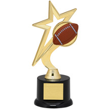 "Football Trophy - 9"" Gold Star Football with Black Acrylic Base"