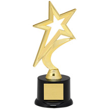 "Star Trophy - 9"" Gold Star with Black Acrylic Base"