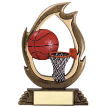 Basketball Resin Flame Cut-Out Trophy - 7 1/4""