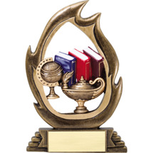 Lamp of Learning Resin Flame Cut-Out Trophy - 7 1/4""