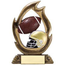 Football Resin Flame Cut-Out Trophy - 7 1/4""