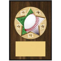 "Baseball Plaque - 5 x 7"" Star Emblem Plaque"