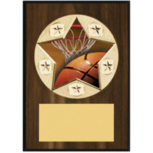 "Basketball Plaque - 5 x 7"" Star Emblem Plaque"