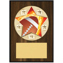 "Football Plaque - 5 x 7"" Star Emblem Plaque"