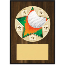 "Golf Plaque - 5 x 7"" Star Emblem Plaque"