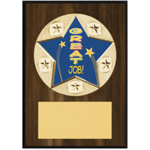 "Great Job Plaque - 5 x 7"" Star Emblem Plaque"