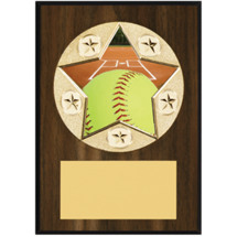 "Softball Plaque - 5 x 7"" Star Emblem Plaque"