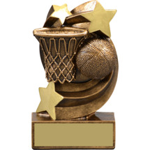 "Basketball Trophy - 5 1/4"" Basketball Star Swirl Resin Trophy"