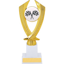 Racing Trophy - Large Crossed Flags Falcon Riser Trophy