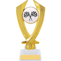 Racing Trophy - Medium Crossed Flags Falcon Riser Trophy