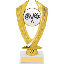 Racing Trophy - Small Crossed Flags Falcon Riser Trophy