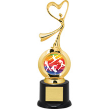 Dance Trophy - All-star Heart Dancer with Black Acrylic Base